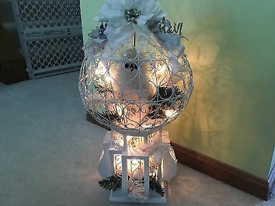 ANTIQUE ART DECO  WIRE METAL HANGING BIRD CAGE *CUSTOM  *LIGHTED OWL ARRANGEMENT