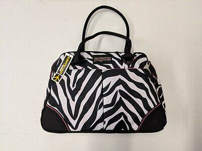 JANSPORT SMALL DUFFEL BAG BLACK/WHITE/FLOUORESCENT PINK MISS ZEBRA TOTE NEW Pink Miss Zebra