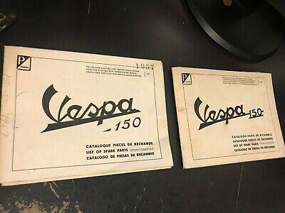2 RARE PIAGGIO VESPA 150 VB1 & VBA DEALER FOLDOUT CATALOG LIST SPARE PART MANUAL
