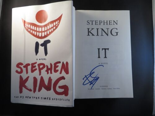 BILL SKARSGARD SIGNED IT HC BOOK STEPHEN KING AUTOGRAPH PENNYWISE COA