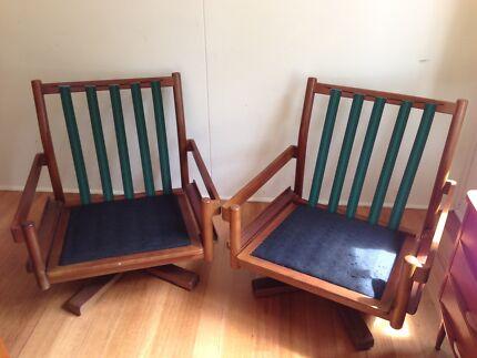 Mid century vintage Teak DANISH DELUXE mareka armchairs x 2