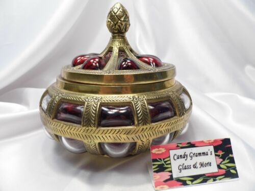 """Large Antique 7.5"""" Ruby Red Glass & Brass Covered Compote Bowl Urn Centerpiece"""
