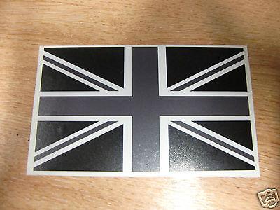UNION JACK BRITISH  FLAG -  STICKER/DECAL  125mm x 78mm -  **BLACK,WHITE+GREY**