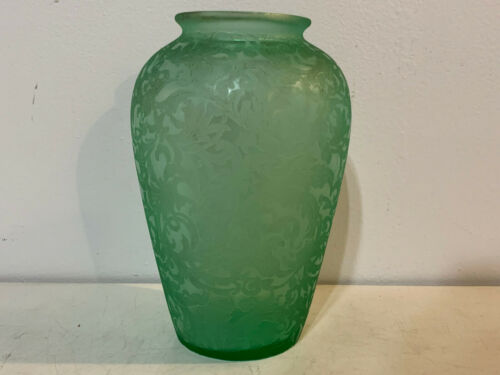 Vintage Green Acid Etched Glass Vase w/ Scrolling & Floral Decoration