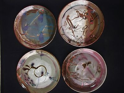~Set Of 4~ RARE Signed John GLICK Plum Tree Pottery Abstract Dinner Plates  Mint