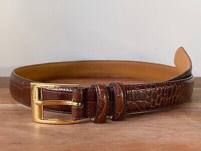 Ralph Lauren Croc Alligator Style Embossed Brown Italian Leather Belt Size 36