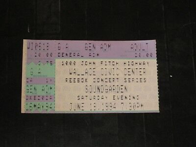 SOUNDGARDEN 1994 TICKET STUB WALLACE CIVIC CENTER MA. JUNE 18, 1994**RARE**