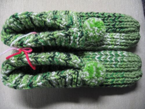 """Unisex Handmade Hs Slippers w/Cuffs Green Mix Womans X Large Mans Med/Large 10"""""""