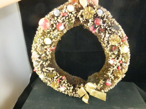 "Vintage 12"" Bottle Brush Christmas Wreath with Fruit and Balls"