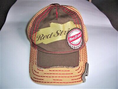 Red Stripe Distressed Beer Baseball Adjustable Hat Cap With Bottle Opener New