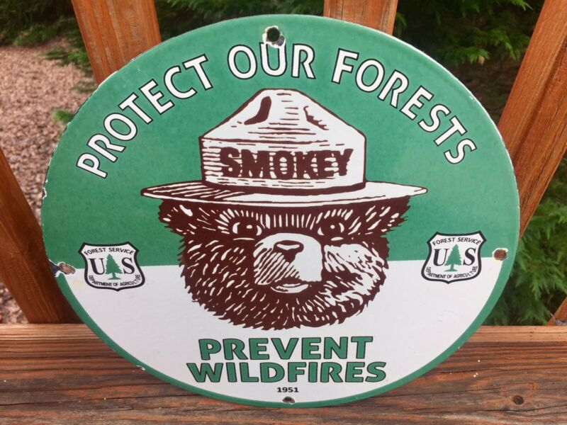 """Vintage Smokey the Bear Green Forest Service Heavy Porcelain Sign 12"""""""