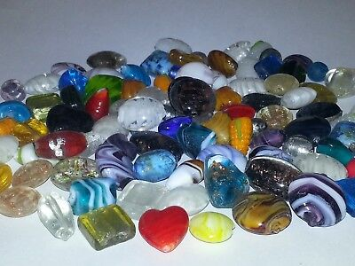 (Wholesale Mixed Handmade Lampwork Glass Loose Beads Heart Oval Round Mix 15PCS.)