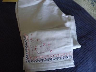 Denim & Co White Stretch Denim Embroidered Hem Crop Pants Size L