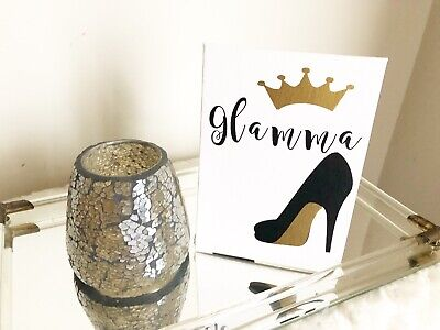 Glamma Black Gold Canvas Home Table Decor New Grandmother Birthday Gift Ideas - Gold Table Decoration Ideas