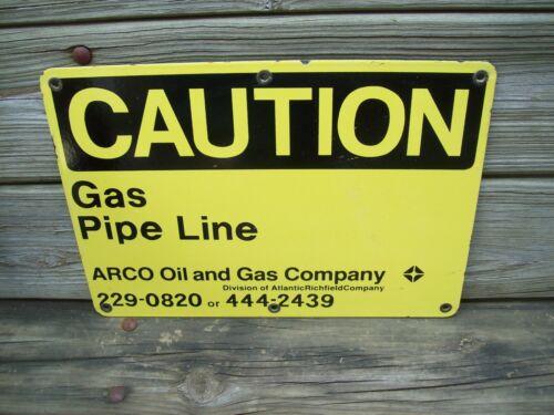 Porcelain Sign Arco Atlantic Richfield Caution Gas Pipe Line