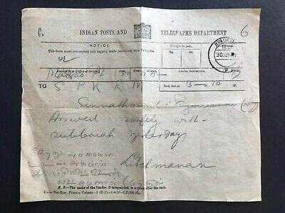 BURMA 1921? INDIAN POSTS TELEGRAM WITH KYAUKTAN POSTMARK