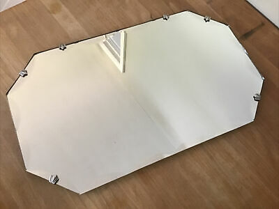 Vintage 8 Sided Mirror With Bevelled Scalloped Edge Frameless