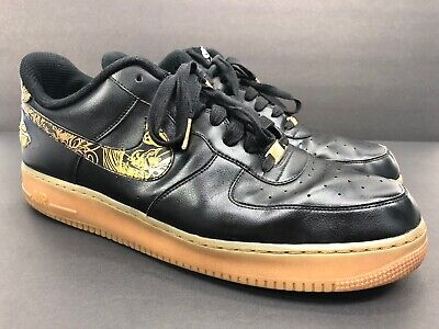 Nike Air Force 1 Mens Size 17 Basketball Shoes Black with Gold Swoosh AF1 NIKEiD