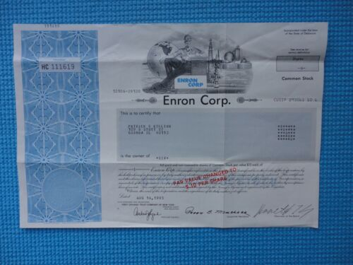 Enron Corporation Stock Certificate Great Condition