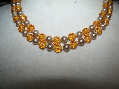 - Vintage JAPAN Amber Citrine Glass Faceted Pearl BEAD double strand necklace