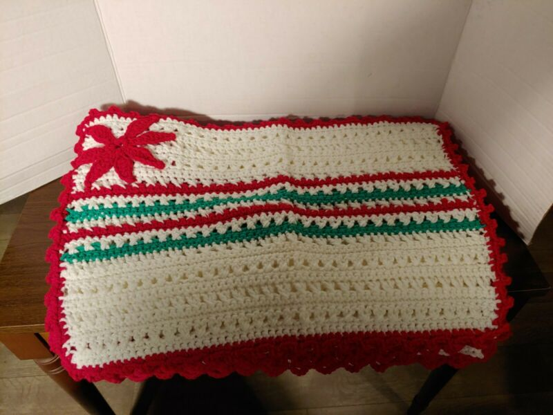 Vintage Handmade Crochet Christmas Placemats, Set Of 7 with matching tree skirt.