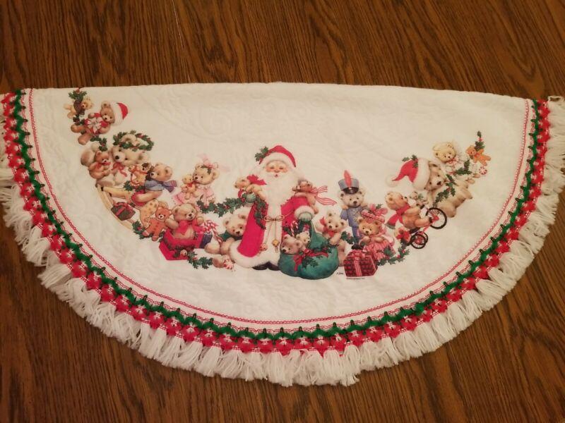 """Vtg Morehead Christmas Tree Skirt 39"""" Santa Teddy Bears White red green  tassels"""