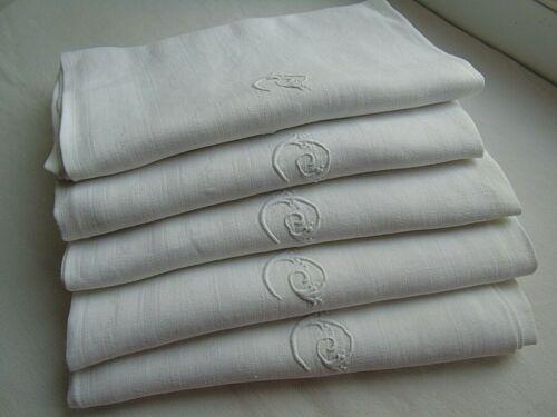 """French set of 5 white cotton table linens """" C L"""" monogram antique / vintage"""
