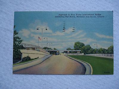 Blue Water International Bridge Port Huron Mi Vintage Used  1956 Postcard