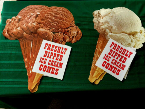 Dealer Lot: Vintage Soda Fountain Ice Cream Cone Advertising Signs 1950