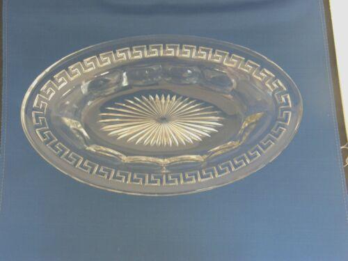 Bread Tray-Greek Key Pattern-Heisey Elegant Glass-Vintage 1912-1938-Signed