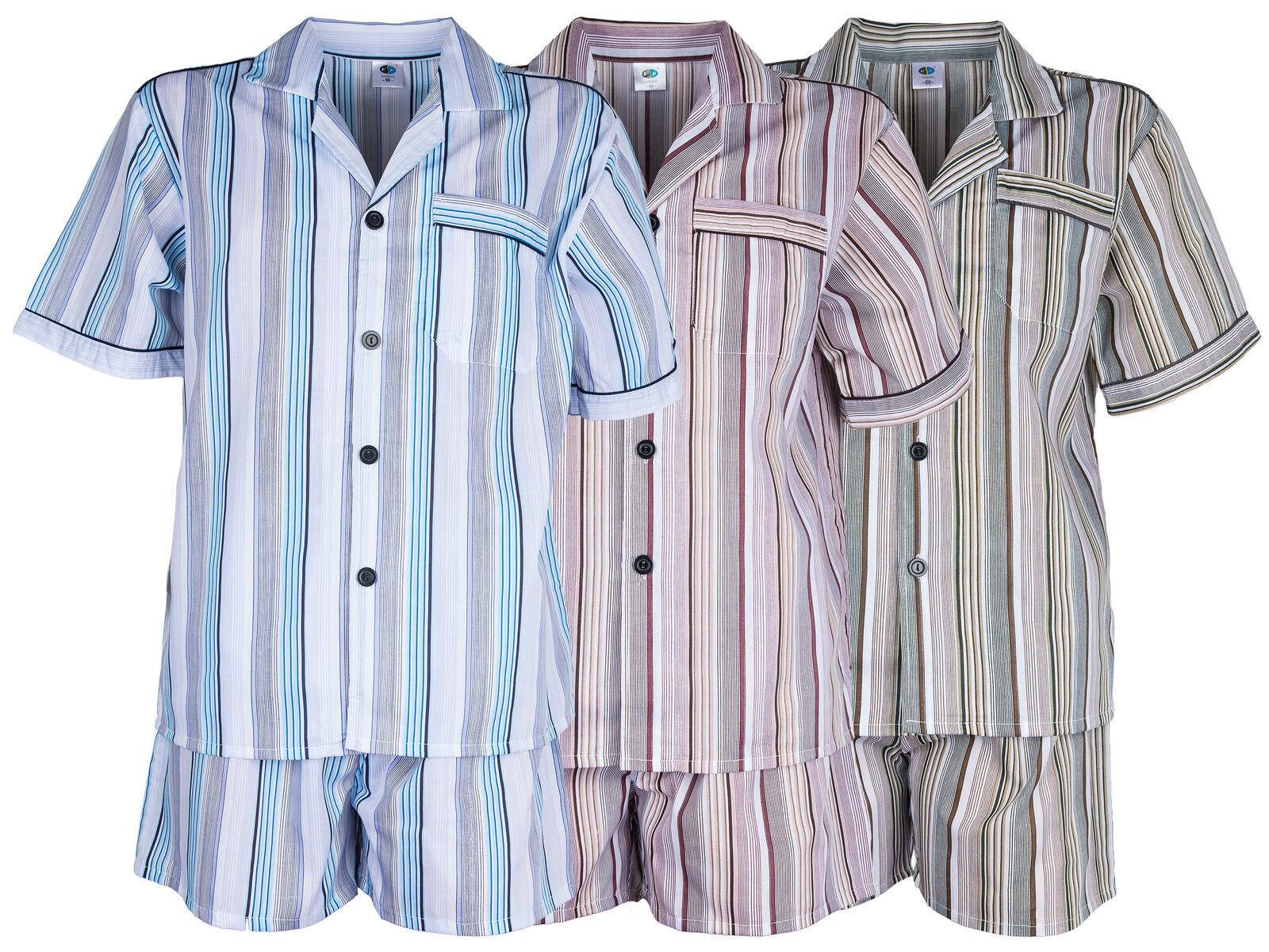 Herren Batist Pyjama gestreift von SOUNON®- Kurz - 3 Farben (Gr. 48 bis Gr. 60)