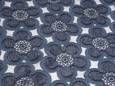 Navy Blue Venice Lace/Embroidered Tulle Mesh Floral Beauty from Italy!! - Navy Tulle
