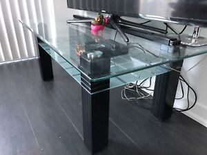 Brand new Glass top 2 level sofa table / tv table