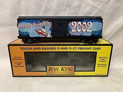 ✅MTH RAILKING NEW YEARS 2002 BOX CAR 30-7490! FOR O GAUGE TRAIN SET CHRISTMAS