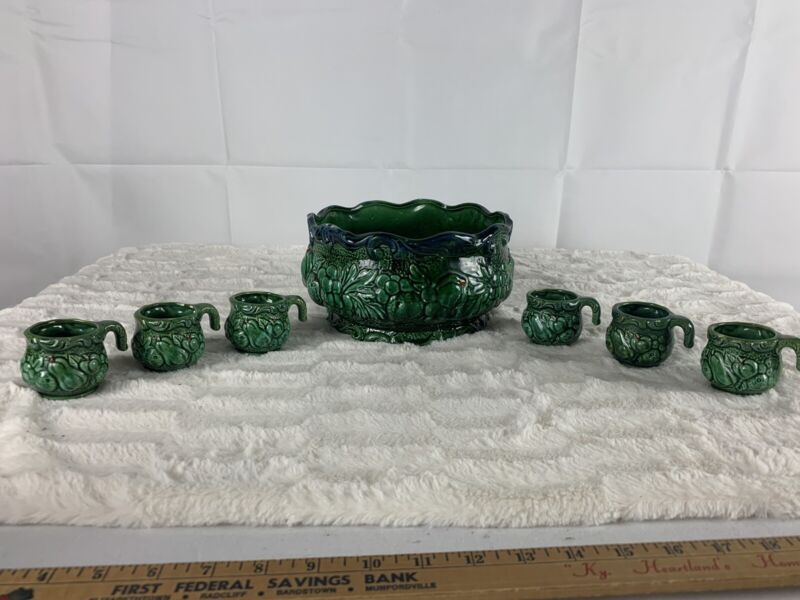 Vintage Green Ceramic Japan Punch Bowl And 6 Matching Cups.