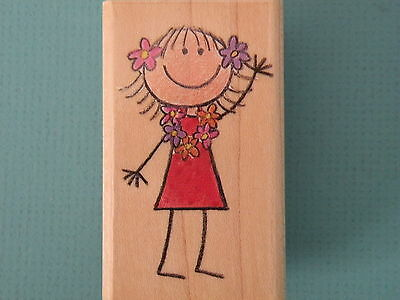 Stick Girl Wearing Flowers 'Leilani' INKADINKADO Rubber Stamp Me&My Big Ideas