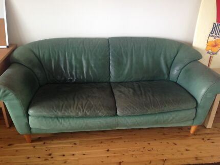 FREE Natuzzi green suede 3 seater + 2 seater + ottoman Warriewood Pittwater Area Preview