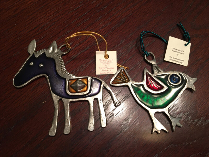 2 Tin Woodsman Christmas Resin On Pewter Ornaments Horse Bird Nwt