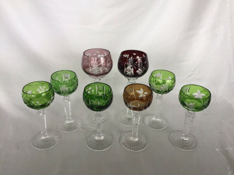 Group Of 8 Vintage Cut To Clear Bohemian Crystal Aperatif Sherry Glasses