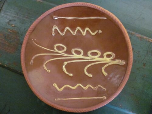 """Old Sturbridge Village Redware Plate, 9 1/2"""", Yellow-Painted Details"""