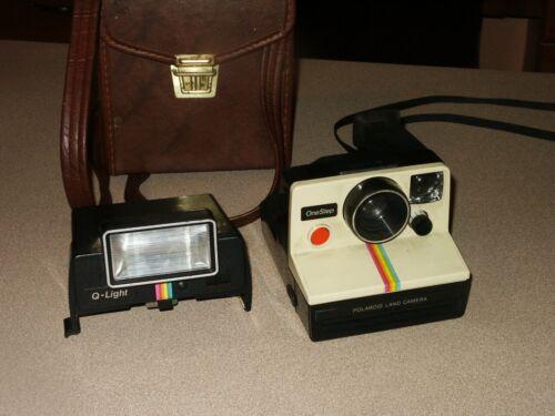 Vintage Polaroid One Step Land Camera Rainbow with Q-Light Flash UNTESTED