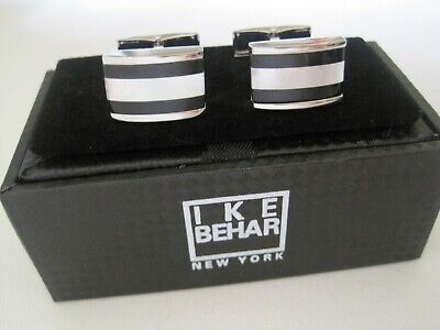 Ike Behar Onyx and Mother of Pearl Rectangular Silver-Tone Cufflinks - Nice! - Eisenhower Mother Of Pearl