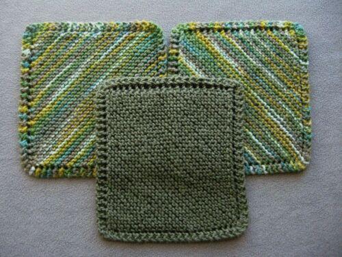 Lot of 3 Hand Knit 100% Cotton Dishcloths Handmade Dish Cloths Olive Green