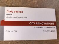 Openings Available! CDV Renovations