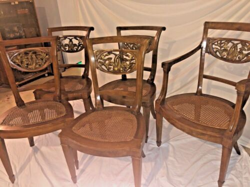 Five Directoire Neoclassic Chair Carved Koi Fish Back Wicker Seat 19thC Restored