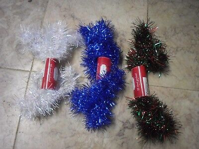 New ! 9 FT Tinsel Garland Christmas Holiday Decoration White Blue Green/Red
