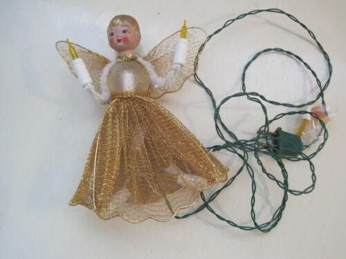 Vintage Angel Christmas Tree Topper Lighted Gold Mesh Skirt & Wings PRETTY