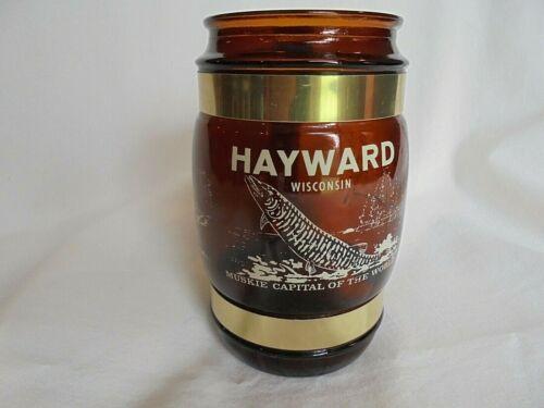 Vintage Hayward Wisconsin Muskie Capital Siesta Ware Amber Mug Wood Handle