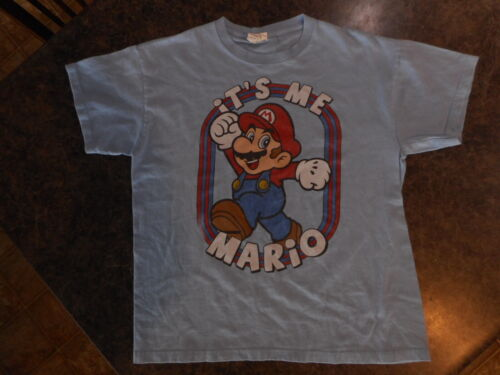 """Mario Brothers Video Gamer shirt Blue Its Me Mario! chest 38"""" Small or Medium ?"""