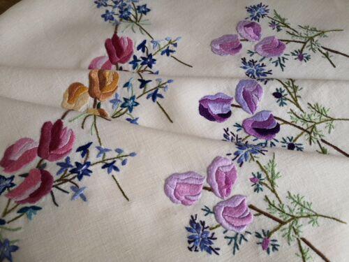 Vintage Unused hand embroidered Irish linen tablecloth - Fairistytch Sweet peas